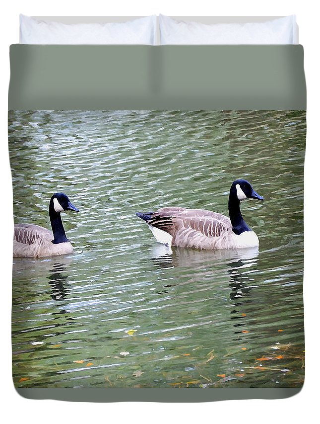 Wild Geese On A Lake Duvet Cover featuring the painting Wild Geese On A Lake 6 by Jeelan Clark