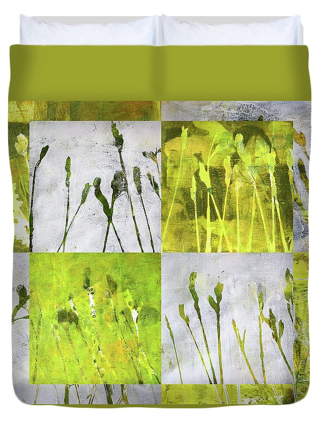 Wild Grass Collage Duvet Cover featuring the painting Wild Grass Collage 3 by Nancy Merkle