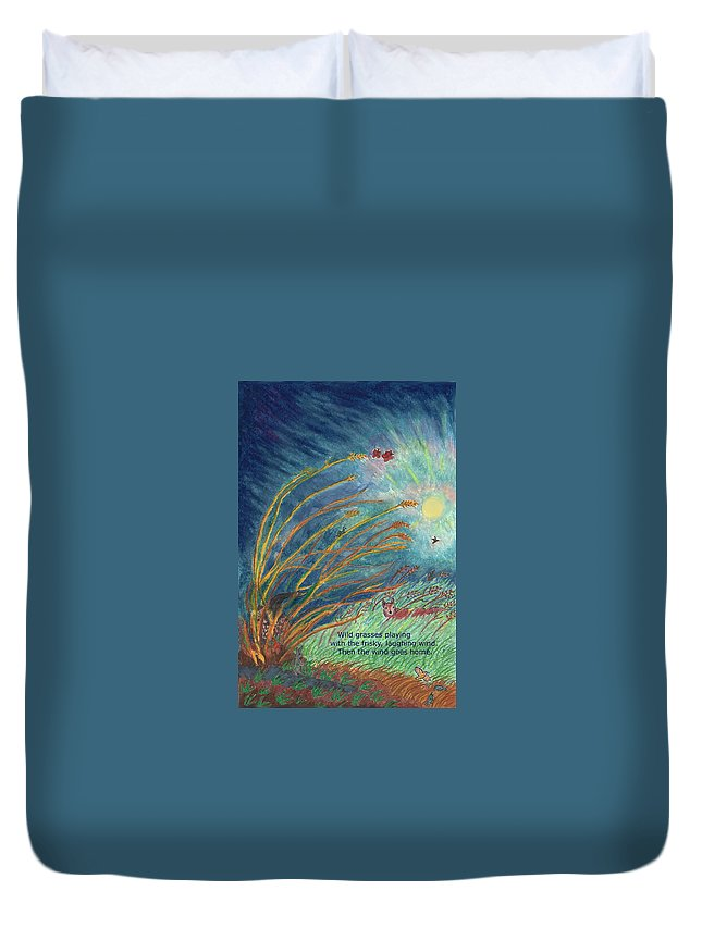 Nature Duvet Cover featuring the drawing Wild Grasses Playing Haiku And Illustration by Dawn Senior-Trask