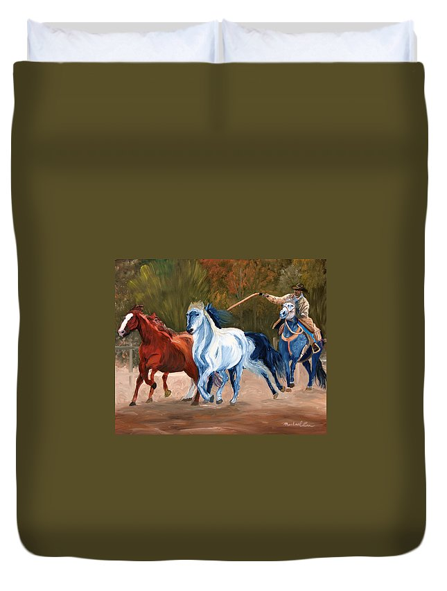 Cowboy Duvet Cover featuring the painting Wild Horse Roundup by Michael Lee