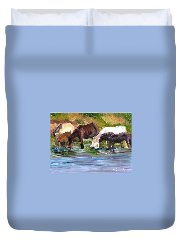 Horses Duvet Cover featuring the painting Wild Horses At The Watering Hole by Michael Lee
