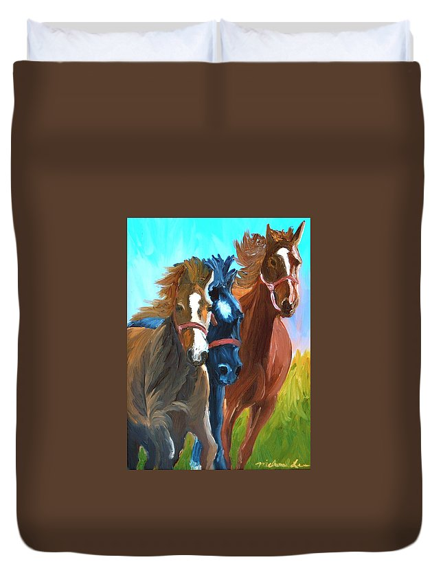 Horses Duvet Cover featuring the painting Wild Horses Running by Michael Lee