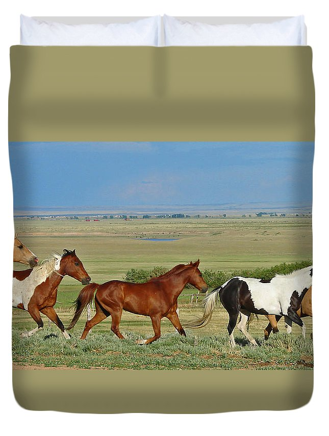 Herd Duvet Cover featuring the photograph Wild Horses Wyoming by Heather Coen