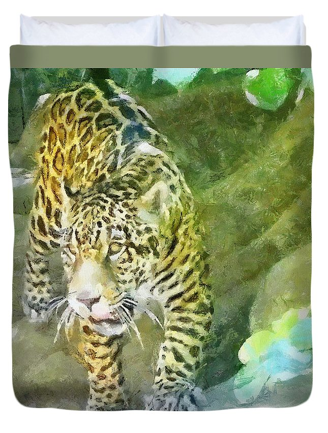 Wild Duvet Cover featuring the painting Wild In Spirit by Jeffrey Kolker