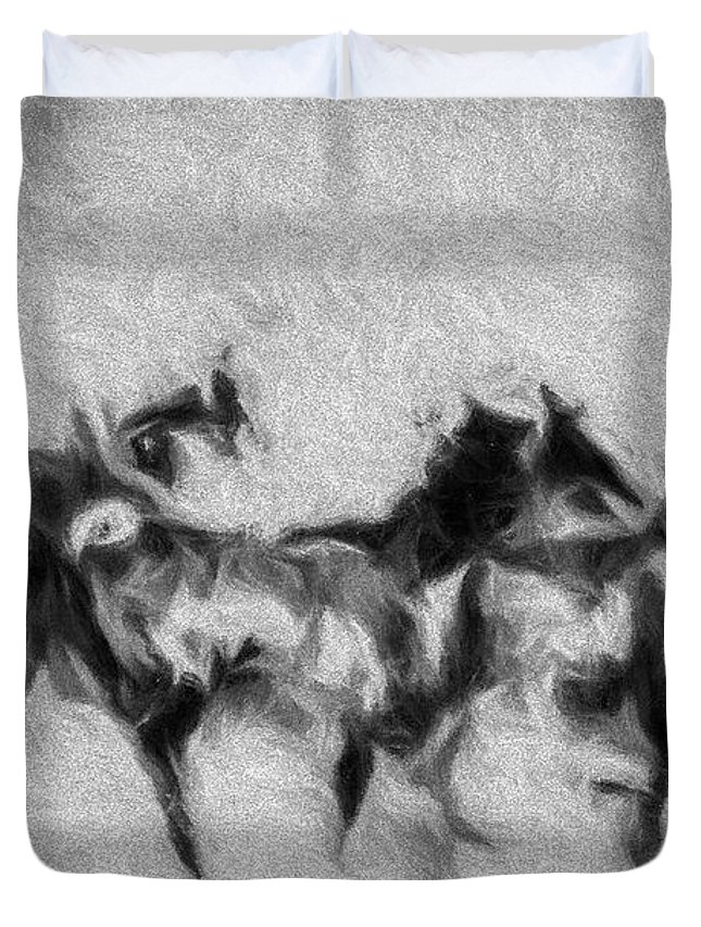 Horse Duvet Cover featuring the photograph Wild In The Storm by Terry Fiala