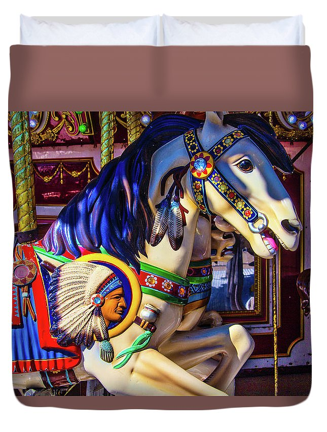 Magical Carousels Duvet Cover featuring the photograph Wild Indian Horse by Garry Gay