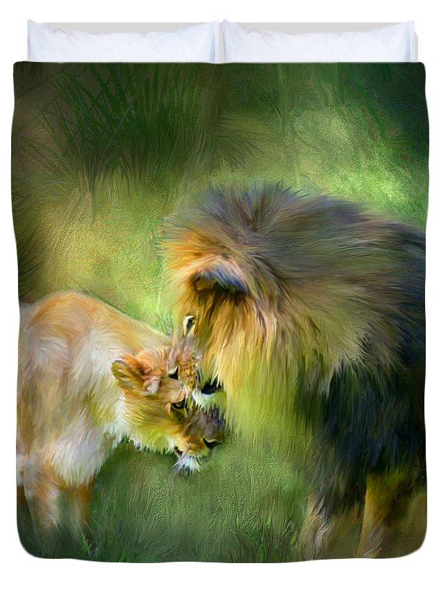 Lion Duvet Cover featuring the mixed media Wild Instinct by Carol Cavalaris