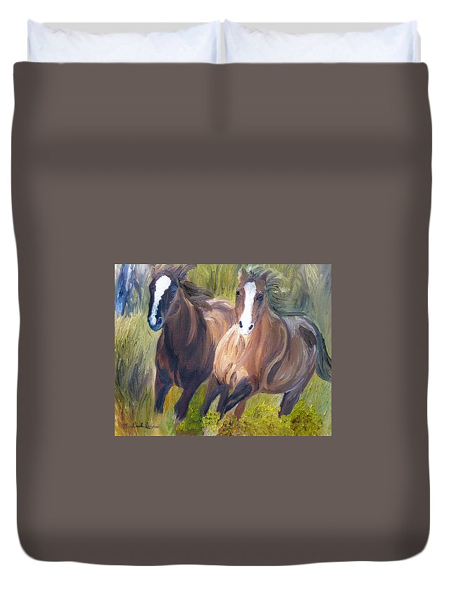 Horses Duvet Cover featuring the painting Wild Mustangs by Michael Lee