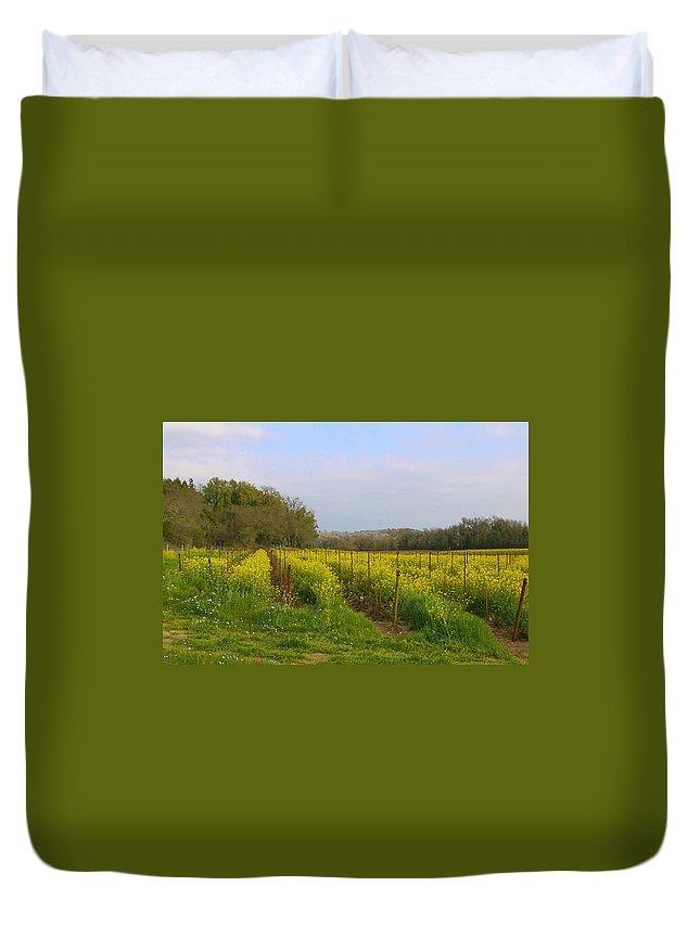Mustard Duvet Cover featuring the photograph Wild Mustard Fields by Tom Reynen