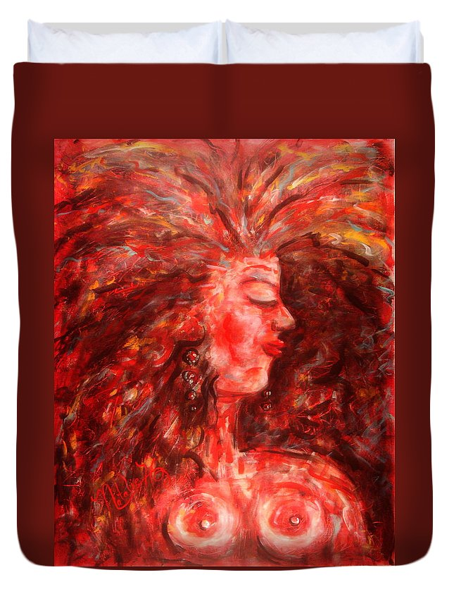 Female Duvet Cover featuring the painting Wild One by Natalie Holland