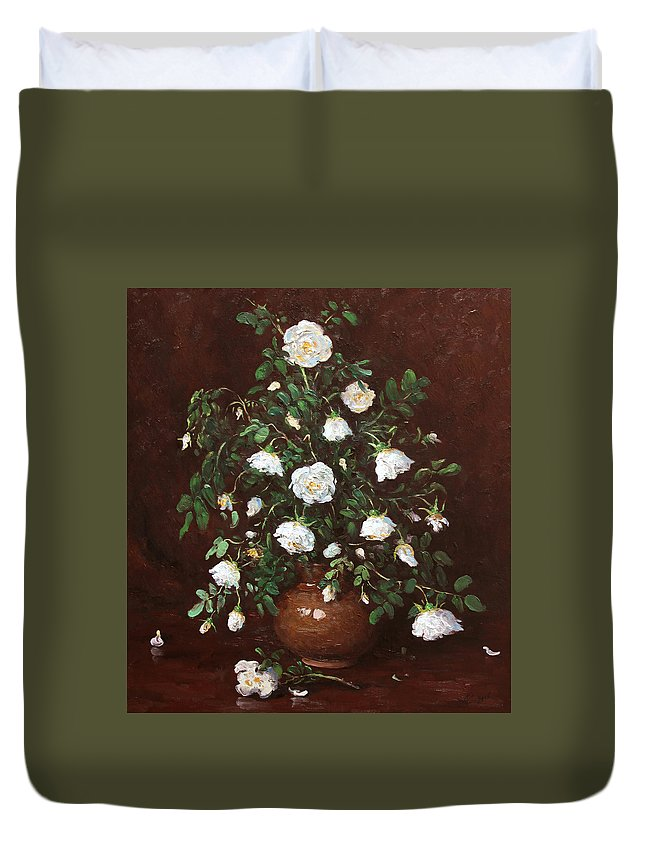 Alexandrovsky Duvet Cover featuring the painting Wild Rose by Alexander Alexandrovsky