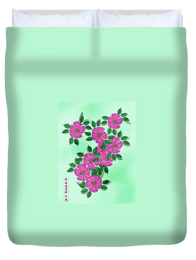 Floral Duvet Cover featuring the painting Wild Roses by Anne Norskog