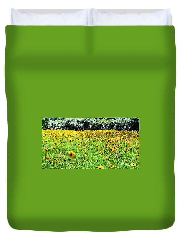 Wild Sunflowers Duvet Cover featuring the pyrography Wild Sunflowers by Tim Townsend