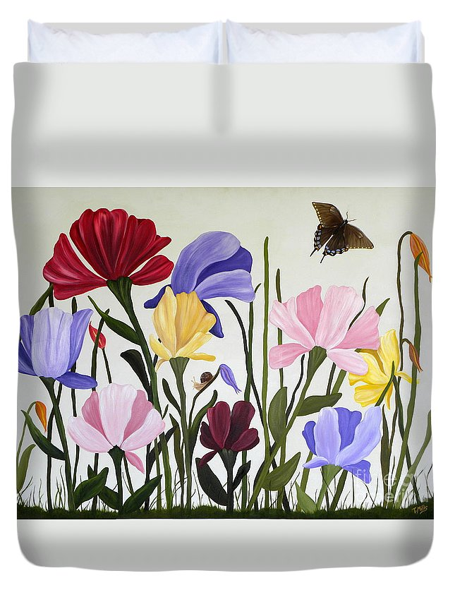 Tulips Duvet Cover featuring the painting Wild Tulips by Terri Mills