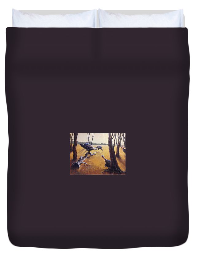 Landscape Turkeys Duvet Cover featuring the painting Wild Turkeys by Judy Michael Myers