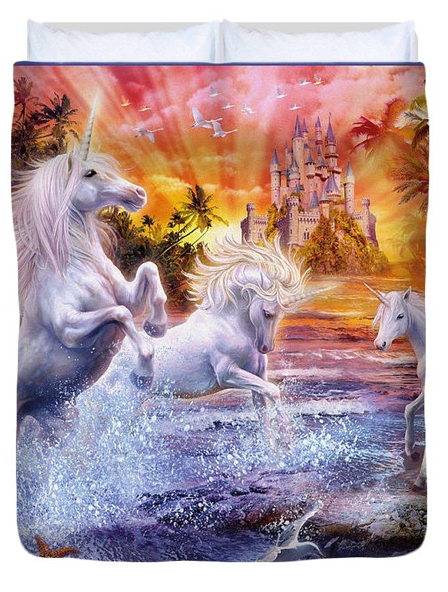 Jan Patrik Krasny Duvet Cover featuring the digital art Wild Unicorns by Jan Patrik Krasny