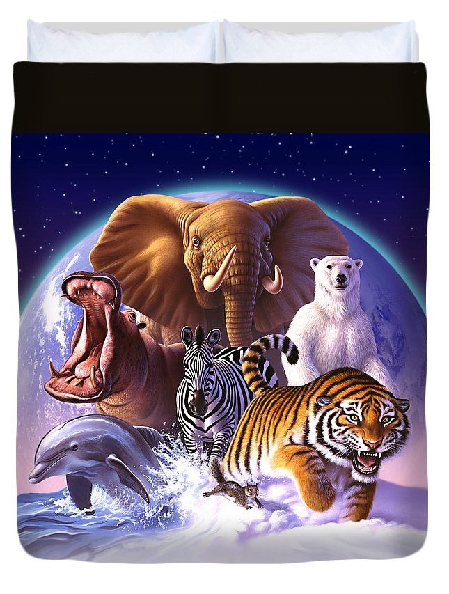 Mammals Duvet Cover featuring the painting Wild World by Jerry LoFaro