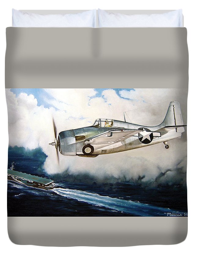 Wwii Duvet Cover featuring the painting Wildcat Home by Marc Stewart