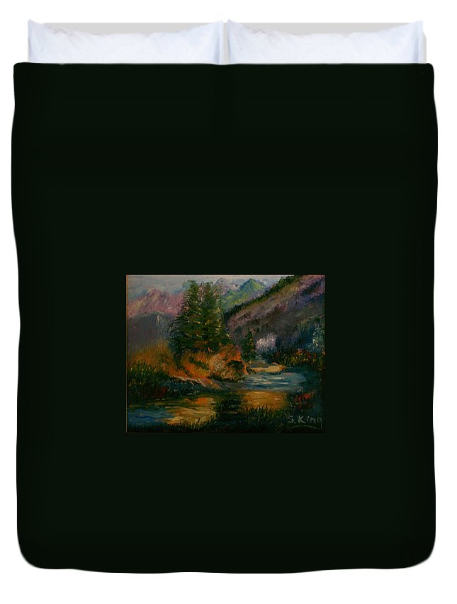 Landscape Duvet Cover featuring the painting Wilderness Stream by Stephen King