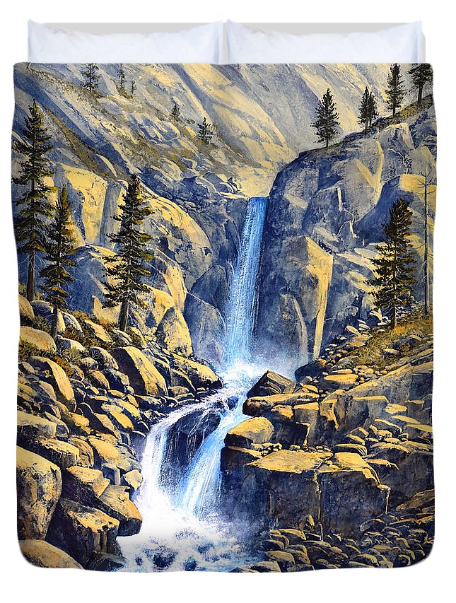 Wilderness Waterfall Duvet Cover featuring the painting Wilderness Waterfall by Frank Wilson