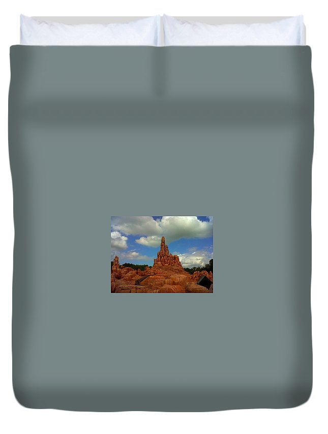 Big Thunder Mountain Railroad Duvet Cover featuring the photograph Wildest Ride by Rachel Kaufmann