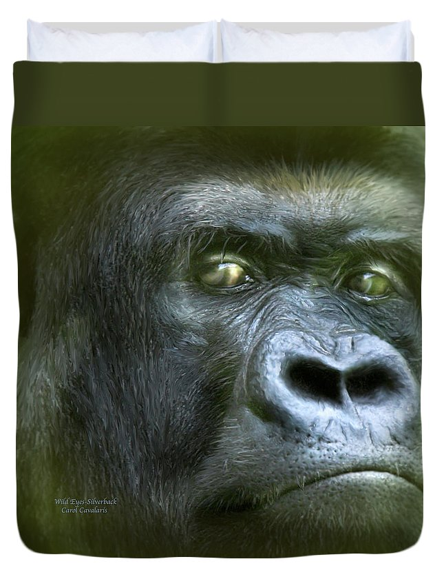 Gorilla Duvet Cover featuring the mixed media Wildeyes-silverback by Carol Cavalaris