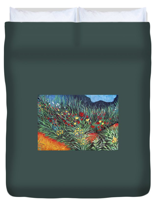 Landscape Duvet Cover featuring the painting Wildflower Garden 2 by Nancy Mueller