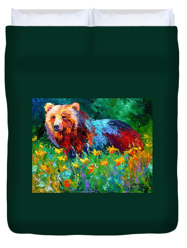 Bear Duvet Cover featuring the painting Wildflower Grizz II by Marion Rose