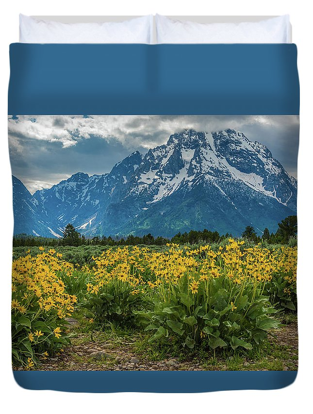 Wildflowers Duvet Cover featuring the photograph Wildflowers And Mount Moran by Yeates Photography