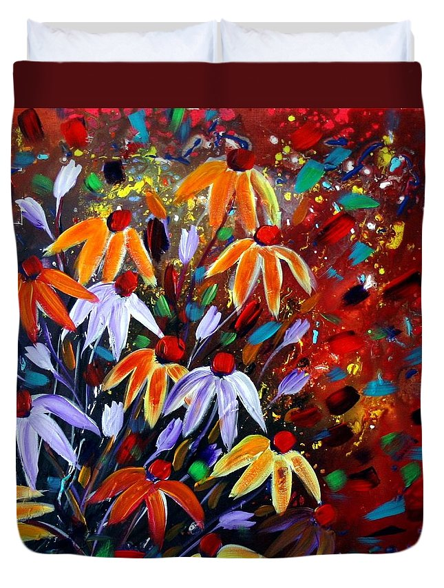 Flowers Duvet Cover featuring the painting Wildflowers At Sunset by Luiza Vizoli