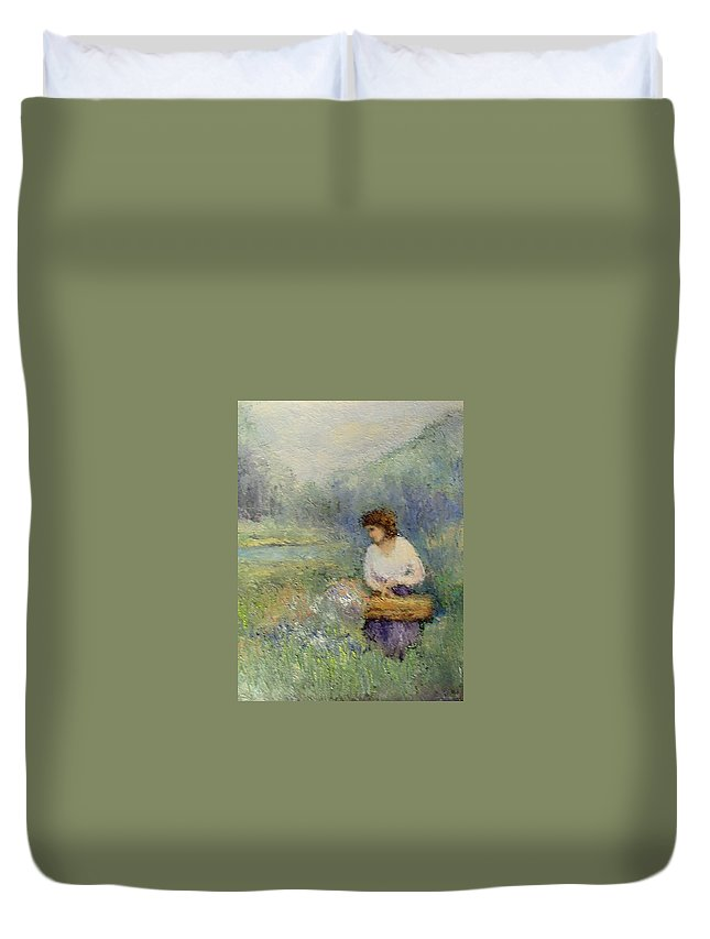 Woman Duvet Cover featuring the painting Wildflowers by Gail Kirtz