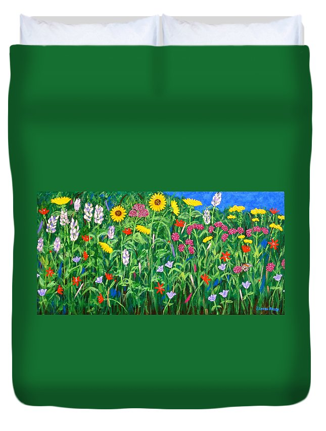 Wildflowers Painting Duvet Cover featuring the painting Wildflowers by J Loren Reedy