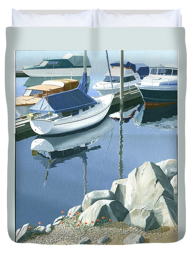 Sailboat Duvet Cover featuring the painting Wildflowers On The Breakwater by Gary Giacomelli