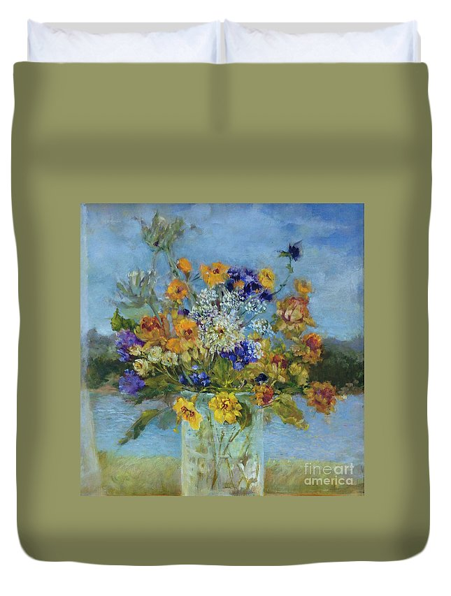 Purple And Yellow Wildflowers In Hudson Valley Landscape Duvet Cover featuring the painting Wildflowers On The Lake by Kathleen Hoekstra