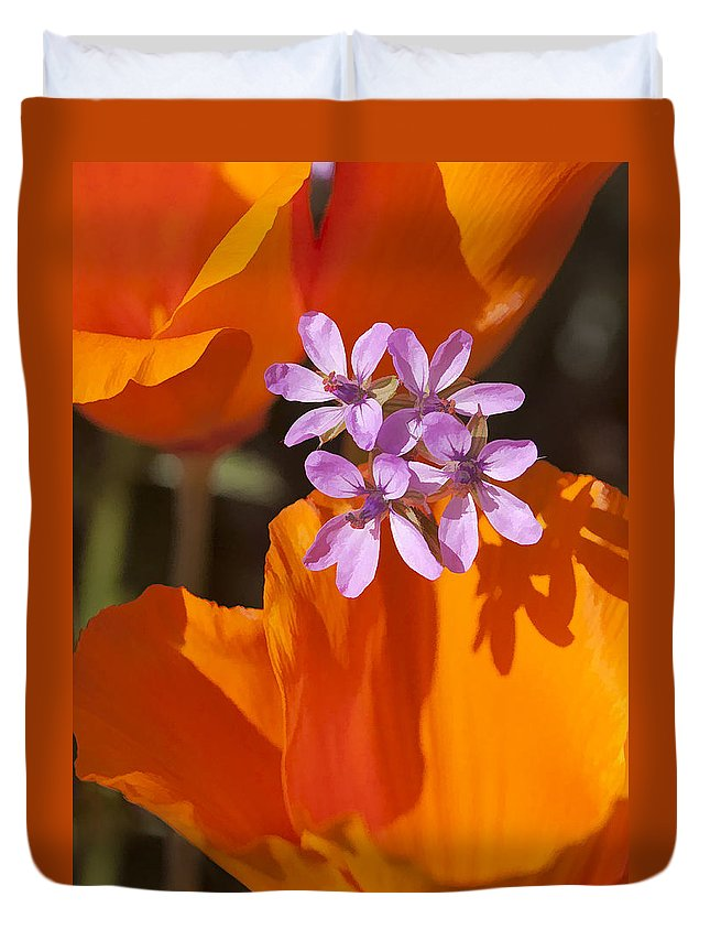 California Duvet Cover featuring the digital art Wildflowers by Sharon Foster