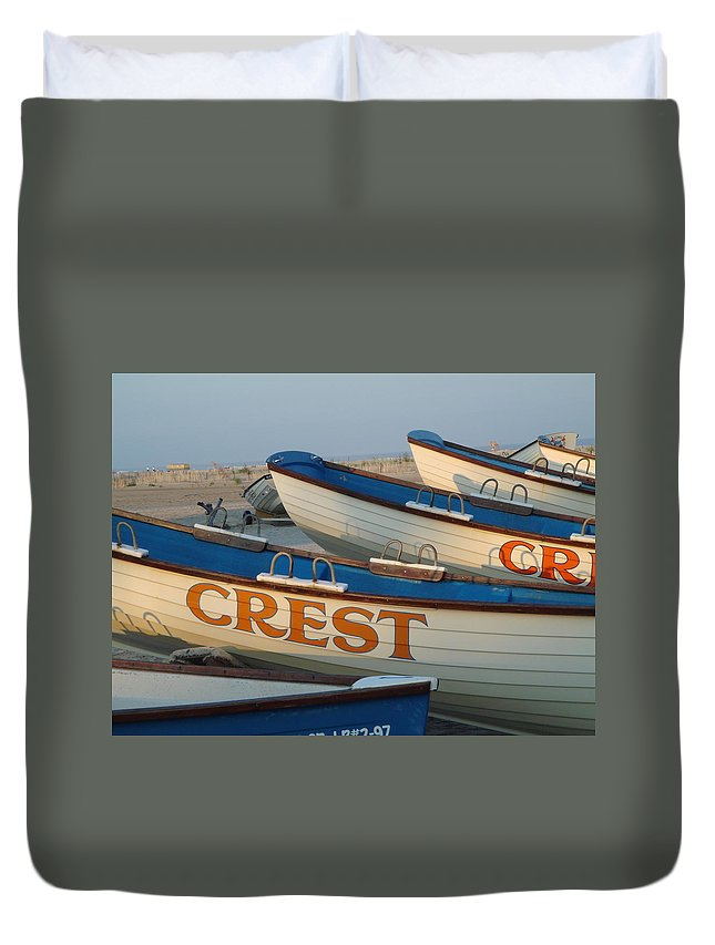 Wildwood Crest Duvet Cover featuring the photograph Wildwood Crest Nj Lifeboats by Anna Maria Virzi