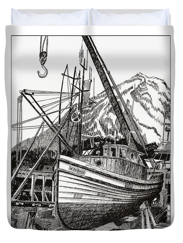 Nautical Shipyard Fishing Boats Duvet Cover featuring the drawing Will Fish Again Another Day by Jack Pumphrey
