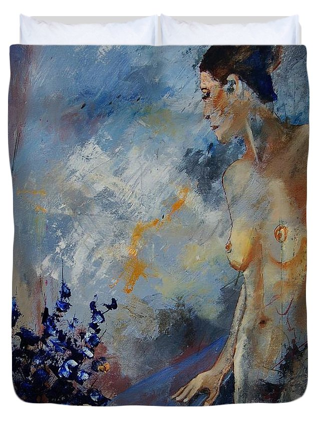 Girl Duvet Cover featuring the painting Will He Be Coming by Pol Ledent