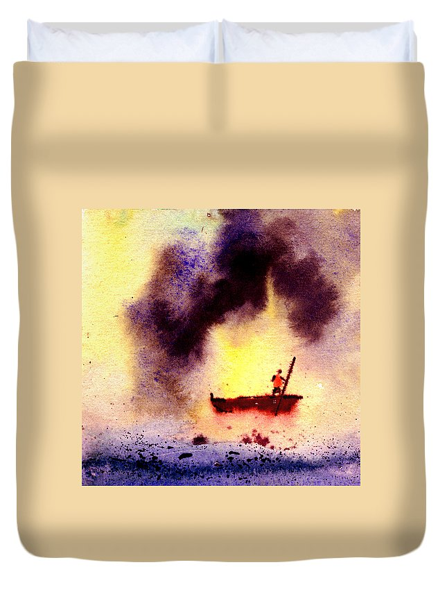 Landscape Duvet Cover featuring the painting Will Power by Anil Nene