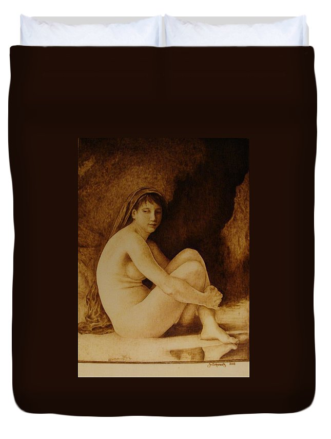 Pyrogrpahy; Woodburning; Nude; Bathing; Cave Duvet Cover featuring the pyrography William Bouguereau Seated Nude by Jo Schwartz