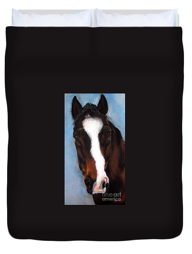 Horse Painting Duvet Cover featuring the painting Willie Duke by Frances Marino