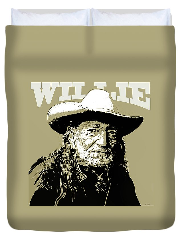 Willie Nelson Duvet Cover featuring the mixed media Willie by Greg Joens