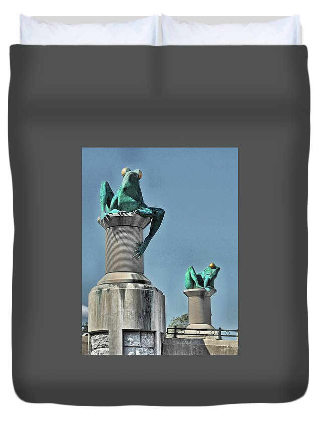 Willimantic Frogs Duvet Cover featuring the photograph Willimantic Frogs by Ben Prepelka