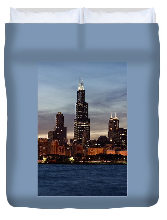 3scape Photos Duvet Cover featuring the photograph Willis Tower At Dusk Aka Sears Tower by Adam Romanowicz