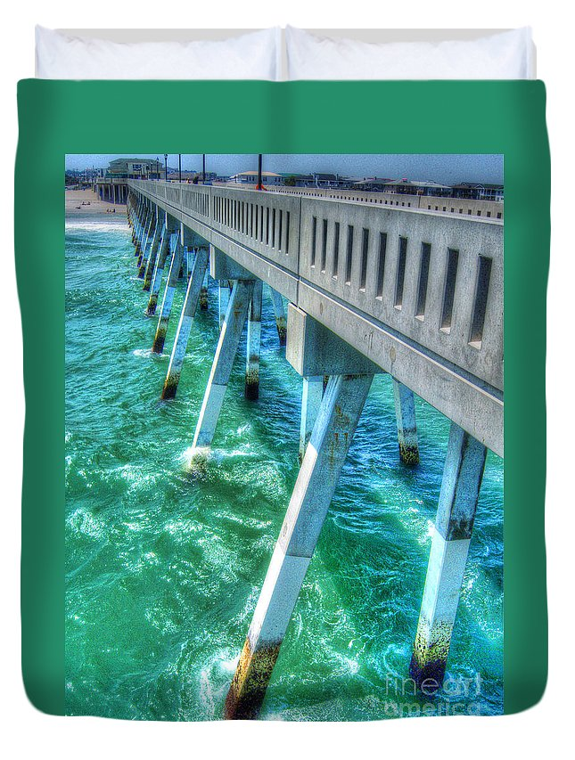 Willmington Duvet Cover featuring the photograph Willmington Nc Pier by Tommy Anderson
