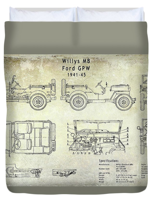 Willys Jeep Blueprint Duvet Cover