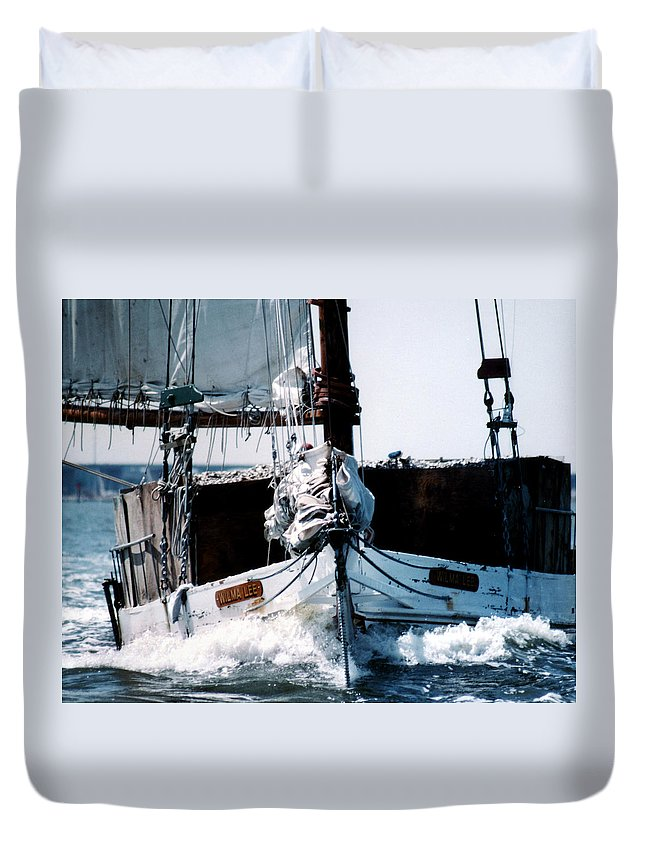 Boat Duvet Cover featuring the photograph Wilma Lee by Skip Willits