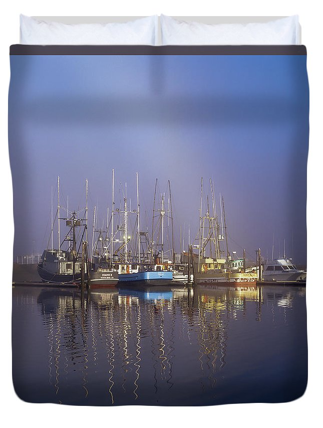 Boats Duvet Cover featuring the photograph Winchester Bay Fishing Boats by Robert Potts