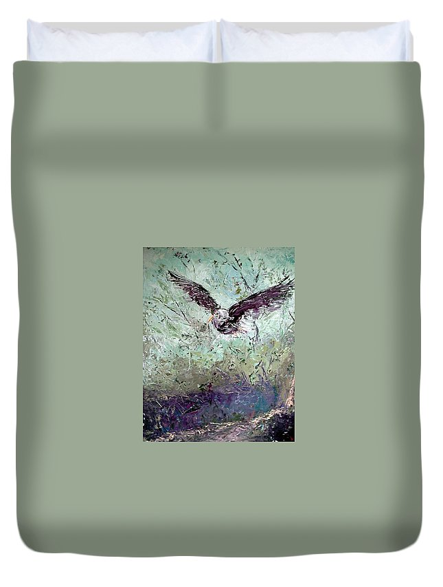 Eagle Duvet Cover featuring the painting Wind by Janet Lavida