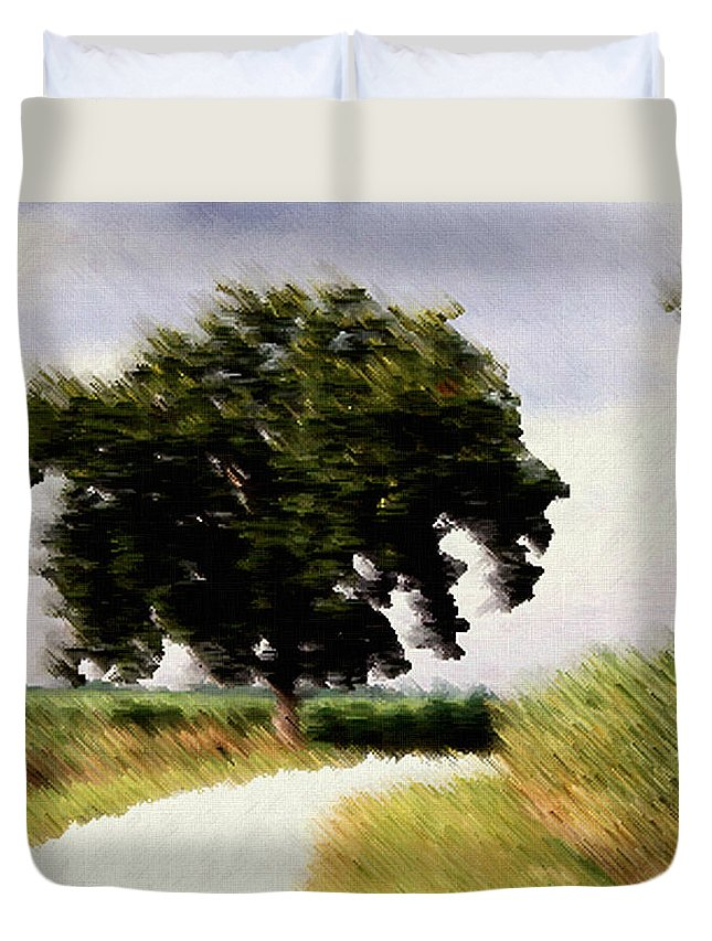Breeze Duvet Cover featuring the digital art Wind Motif Old Dam Road by RC DeWinter